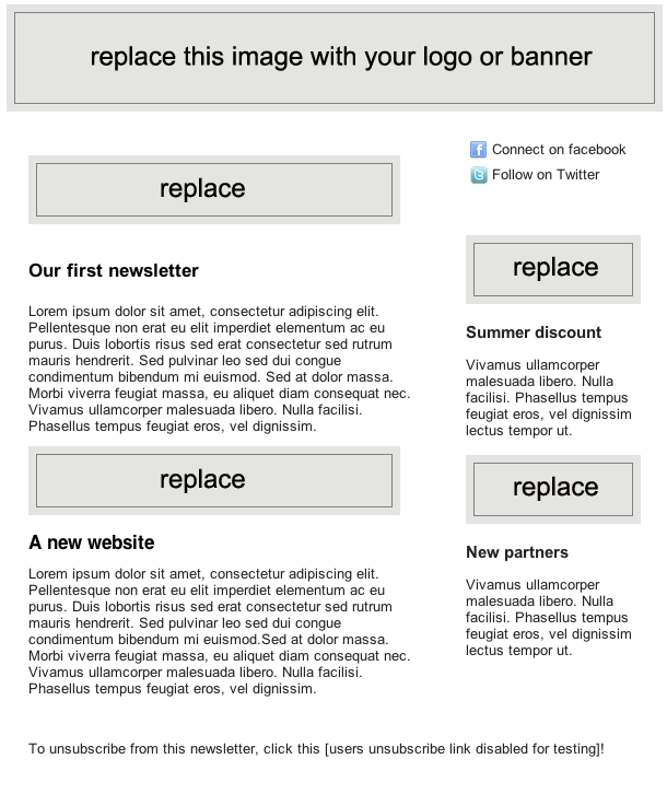 Easily edit the newsletter template