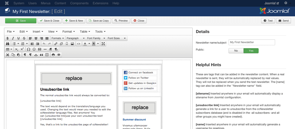 Edit the newsletter directly in Joomla!
