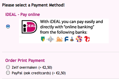 Example of Payment Method Page with cciDEAL in Virtuemart