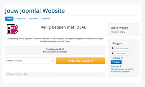 iDEAL component voor Joomla!, Virtuemart en RSForm Pro