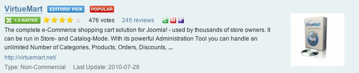 Virtuemart is a popular Joomla e-commerce extension