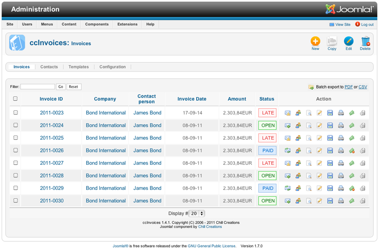 Invoicing system for Joomla! 1.6 1.7 2.5