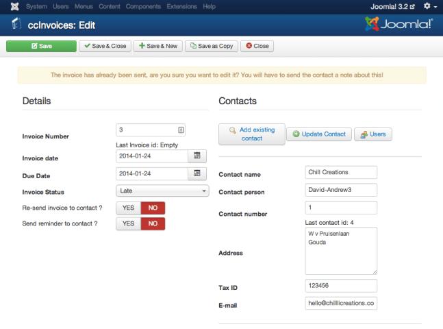 invoice edit view